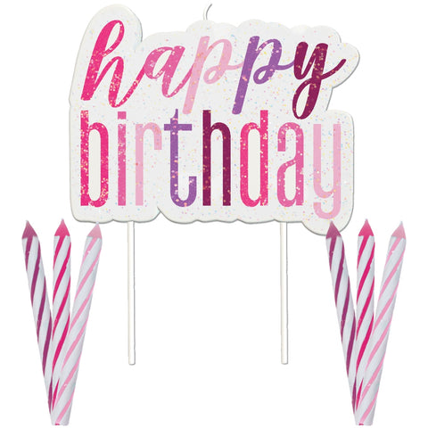 Glitz Pink & Silver Happy Birthday Candles