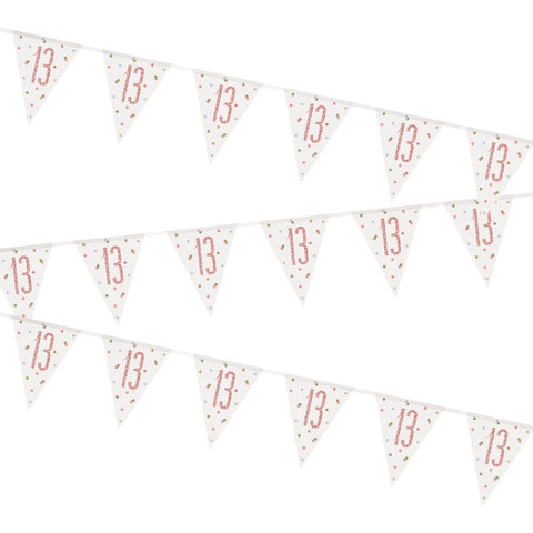 Glitz Rose Gold 13th Birthday Flag Bunting