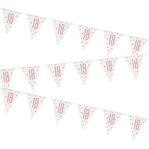 Glitz Rose Gold 18th Birthday Flag Bunting