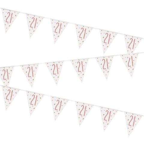 Glitz Rose Gold 21st Birthday Flag Bunting