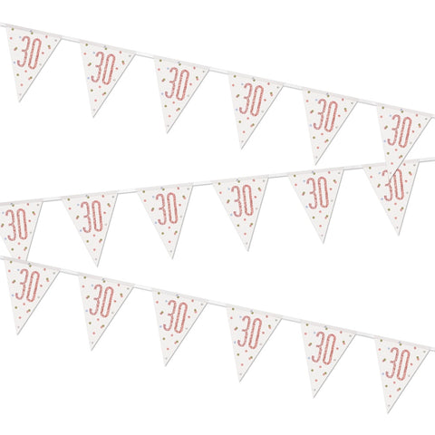 Glitz Rose Gold 30th Birthday Flag Bunting