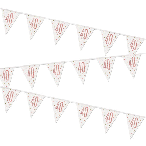 Glitz Rose Gold 40th Birthday Flag Bunting