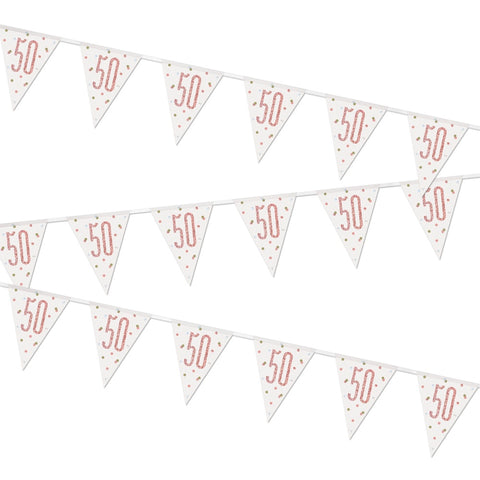Glitz Rose Gold 50th Birthday Flag Bunting