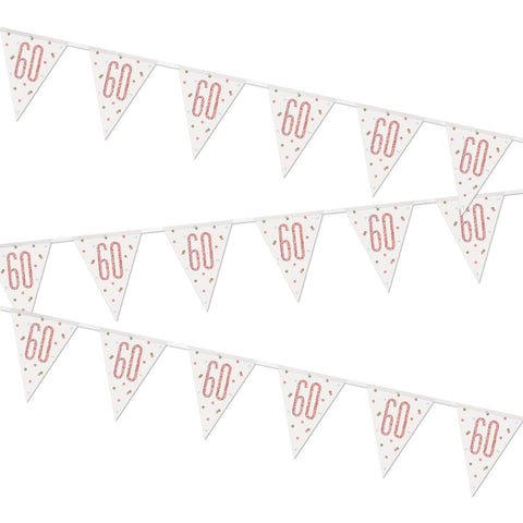 Glitz Rose Gold 60th Birthday Flag Bunting