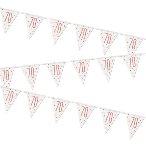 Glitz Rose Gold 70th Birthday Flag Bunting
