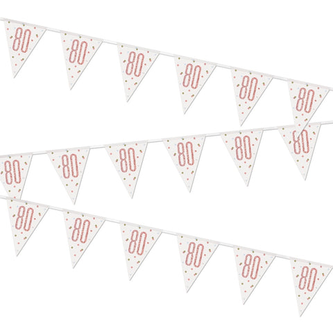 Glitz Rose Gold 80th Birthday Flag Bunting