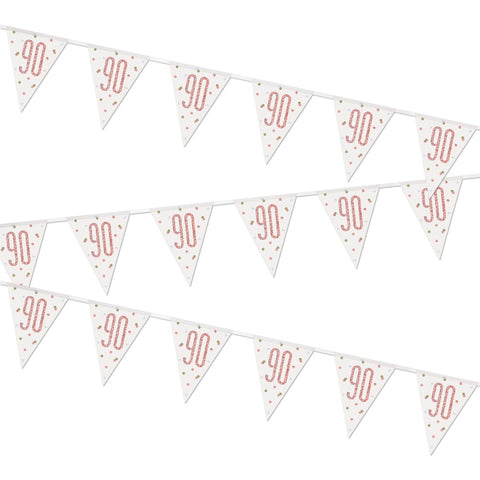 Glitz Rose Gold 90th Birthday Flag Bunting