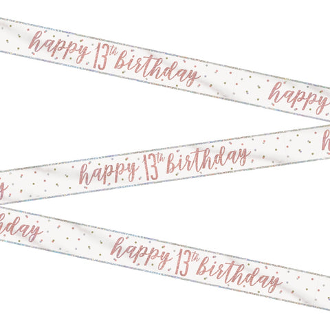 Glitz Rose Gold Happy 13th Birthday Bunting