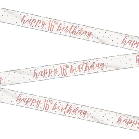 Glitz Rose Gold Happy 16th Birthday Bunting