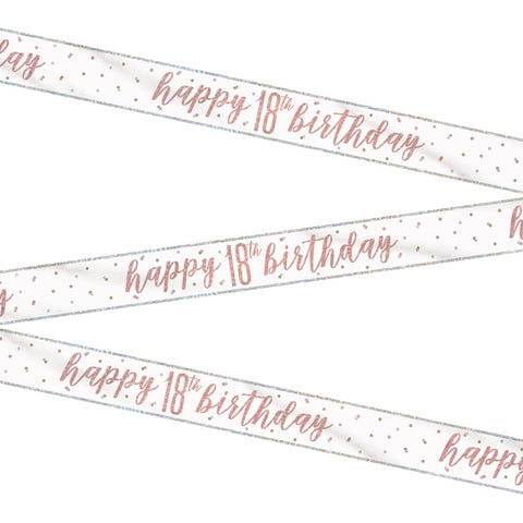 Glitz Rose Gold Happy 18th Birthday Bunting