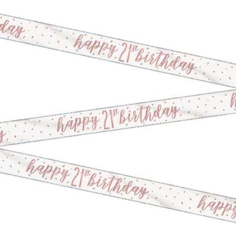 Glitz Rose Gold Happy 21st Birthday Bunting