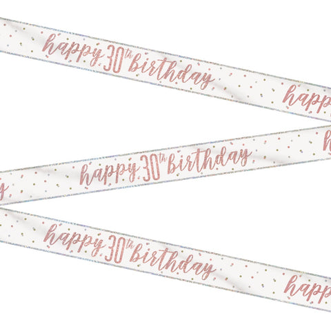 Glitz Rose Gold Happy 30th Birthday Bunting