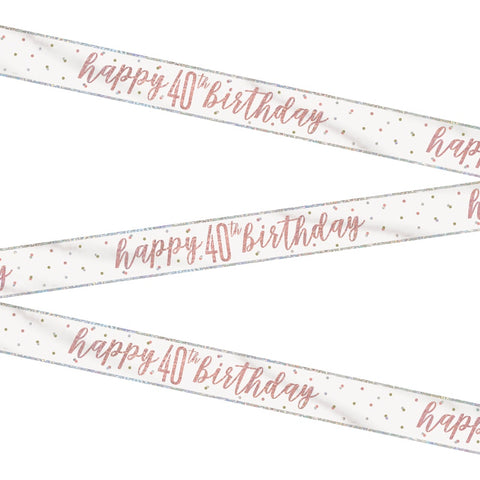 Glitz Rose Gold Happy 40th Birthday Bunting