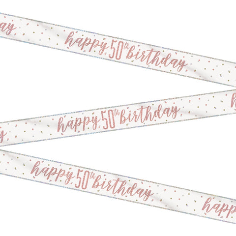 Glitz Rose Gold Happy 50th Birthday Bunting
