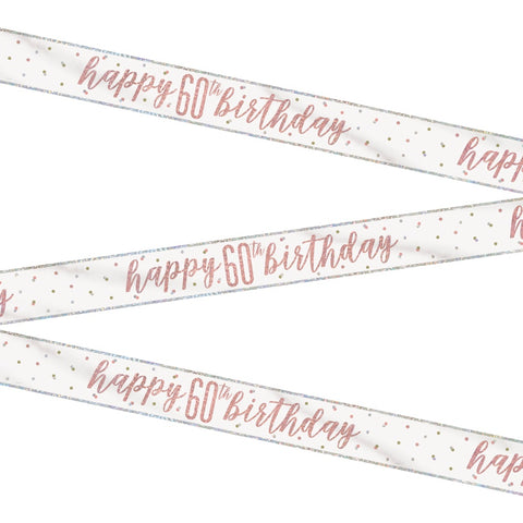 Glitz Rose Gold Happy 60th Birthday Bunting