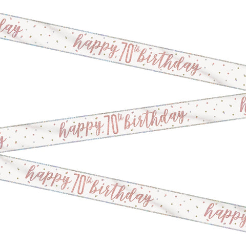 Glitz Rose Gold Happy 70th Birthday Bunting