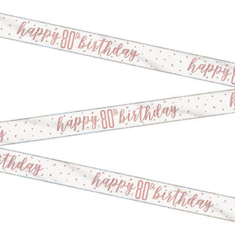 Glitz Rose Gold Happy 80th Birthday Bunting