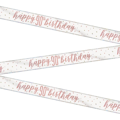 Glitz Rose Gold Happy 90th Birthday Bunting