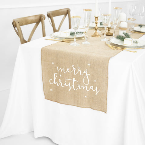 Jute Merry Christmas Table Runner