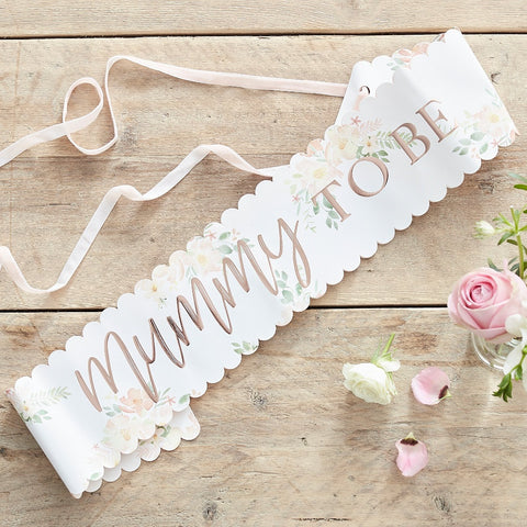 Floral Rose Gold Mummy to Be Baby Shower Sash