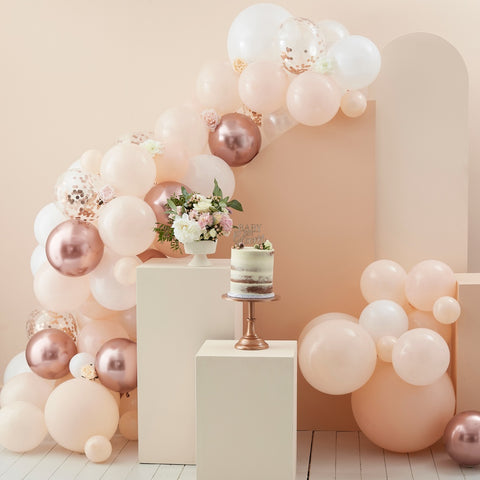 Peach, White & Rose Gold Balloon Arch
