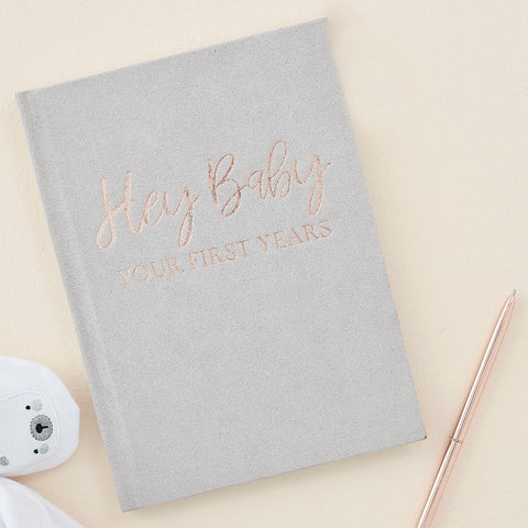 Grey Suede Baby Journal Book