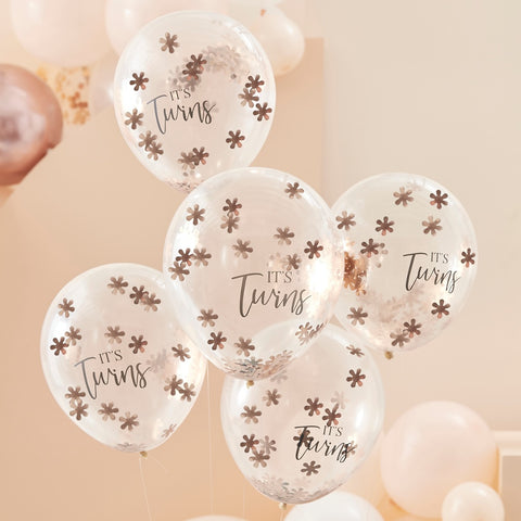 Rose Gold It's Twins Confetti Balloons