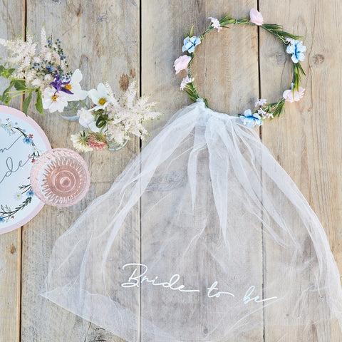 Bride to Be Hen Party Veil With Floral Crown
