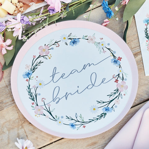 Boho Floral Team Bride Hen Party Plates