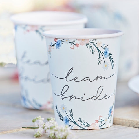 Boho Floral Team Bride Hen Party Cups
