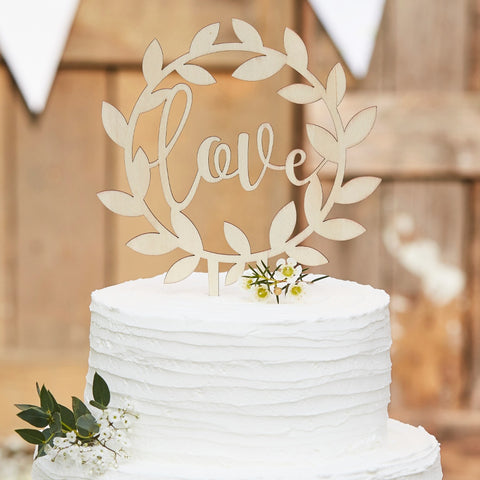 "Wooden ""Love"" Wedding Cake Topper"