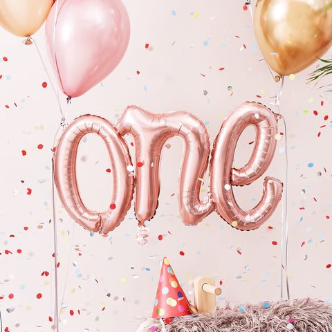 Rose Gold One Foil Balloon