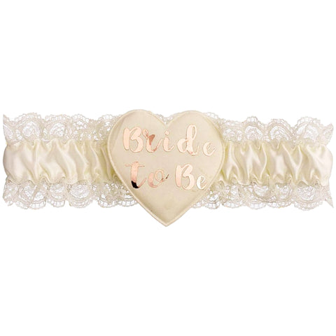 Cream & Rose Gold Bride to Be Garter