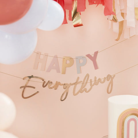 Pastel and Gold Happy Everything Party Bunting