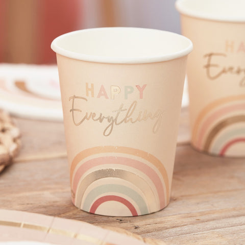 Happy Everything Natural Rainbow Birthday Party Cups