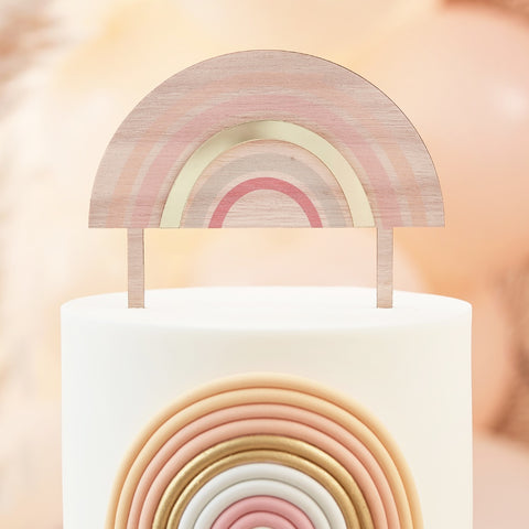 Wooden and Acrylic Rainbow Cake Topper