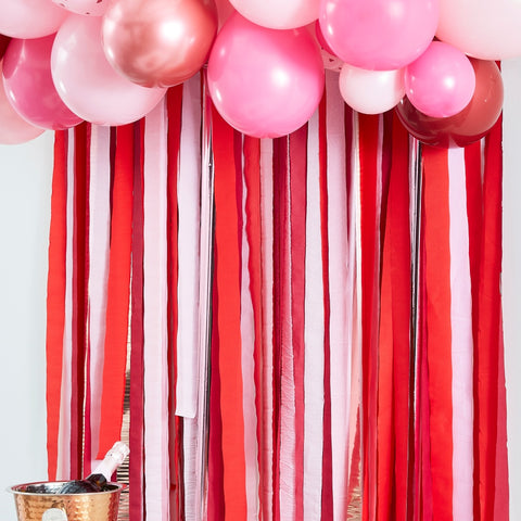 Rose Gold, Pink & Red Streamer Party Backdrop