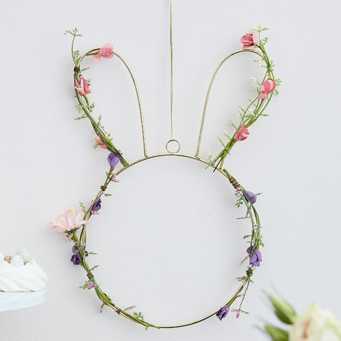 Contemporary Easter Bunny Wreath With Foliage