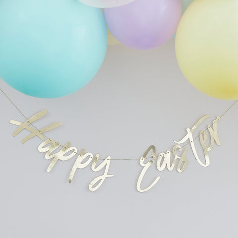 Gold Happy Easter Bunting Banner