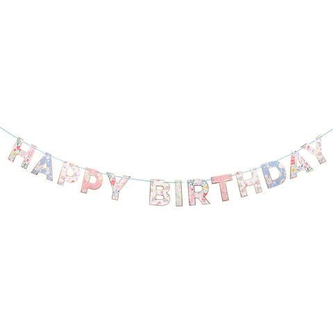 English Garden Happy Birthday Banner
