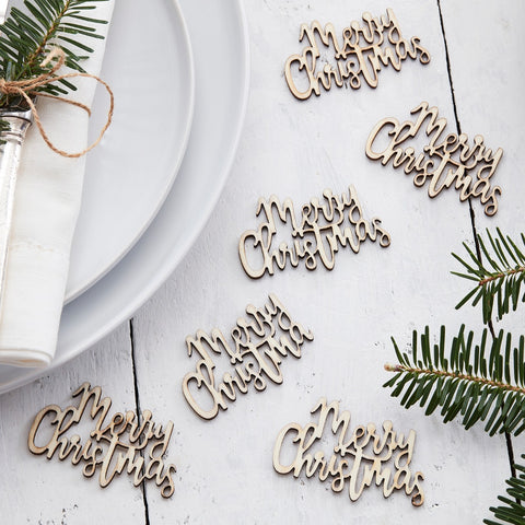Wooden Merry Christmas Table Confetti
