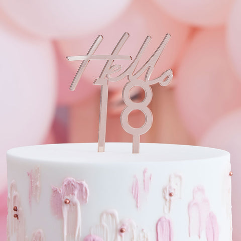 Hello 18 Birthday Cake Topper