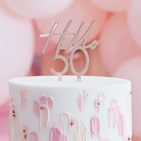 Hello 50 Happy Birthday Cake Topper