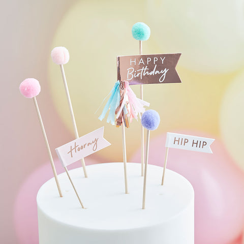Pom Pom Happy Birthday Cake Toppers
