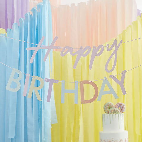 Pastel Eco Friendly Happy Birthday Banner Bunting