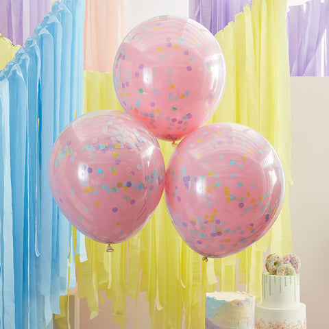 Double Layered Pink and Pastel Rainbow Confetti Balloons