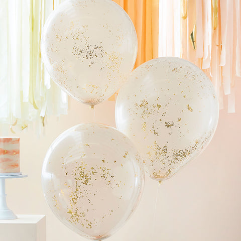 Double Layered Peach and Gold Glitter Confetti Balloons