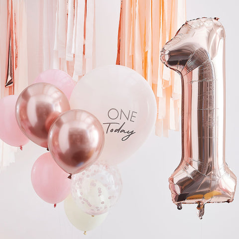 Pink and Rose Gold First Birthday Balloons