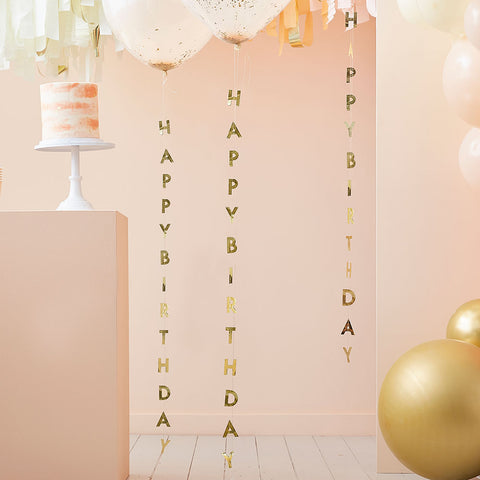 Gold Happy Birthday Balloon Tails