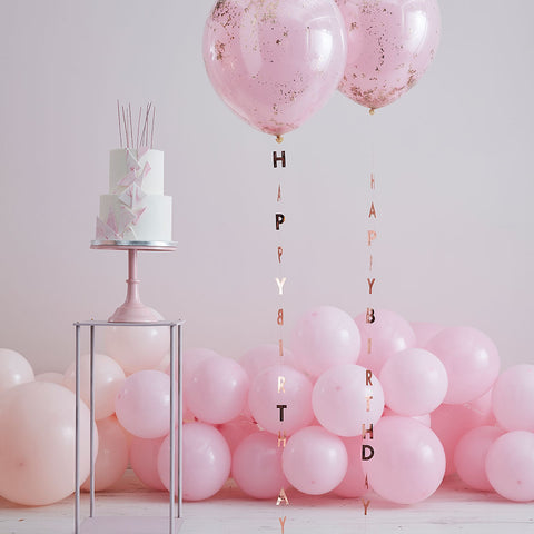 Rose Gold Happy Birthday Balloon Tails